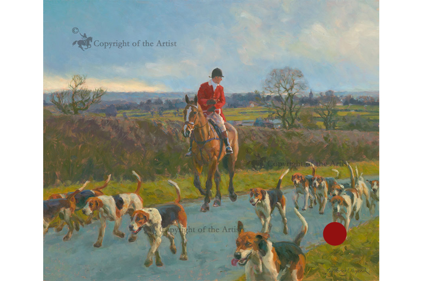 """""""Onwards"""" Frederick J Haycock ASEA    30""""x26"""" THE HORSE AND HOUND AWARD FOR THE BEST HUNTING PICTURE OR SCULPTURE   ****SOLD****"""