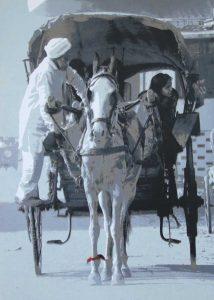 painting art equestrian exhibition horse in art print silkscreen