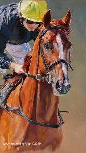 painting art equestrian exhibition horse in art stradavarius racing