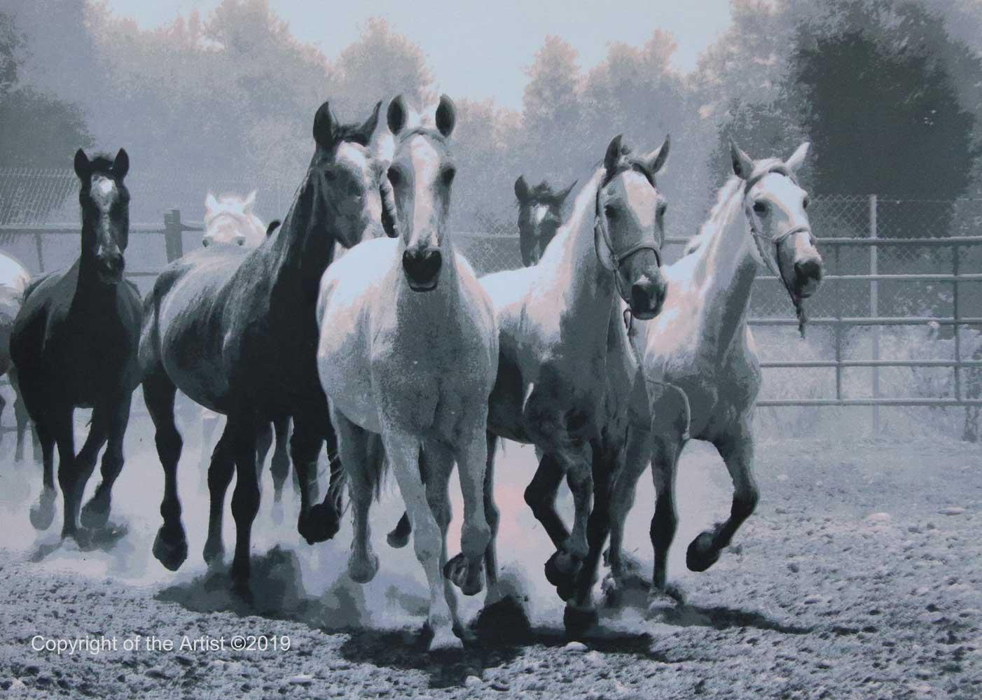 painting art equestrian exhibition horse in art silkscreen print