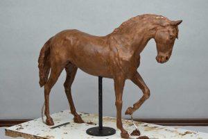 painting art equestrian exhibition horse in art bronze sculpture