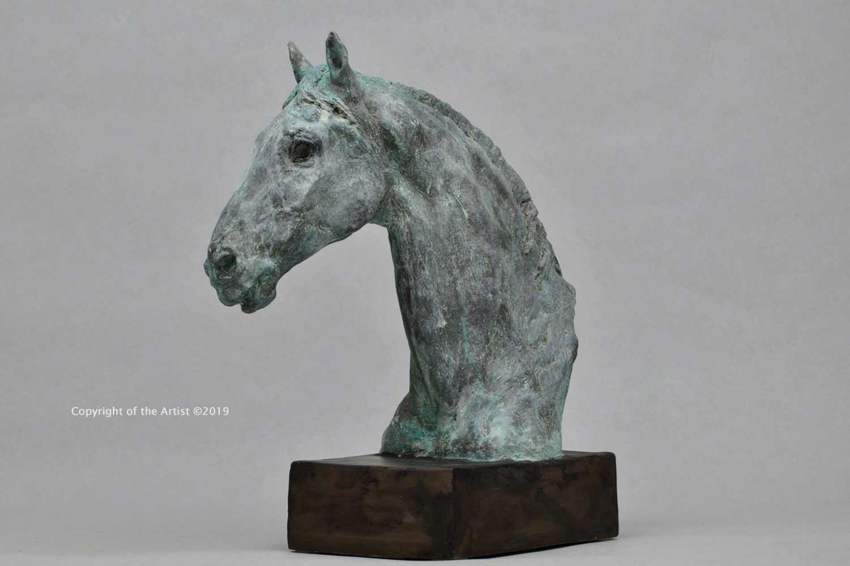 painting art equestrian exhibition horse in art bronze jesmonite sculpture
