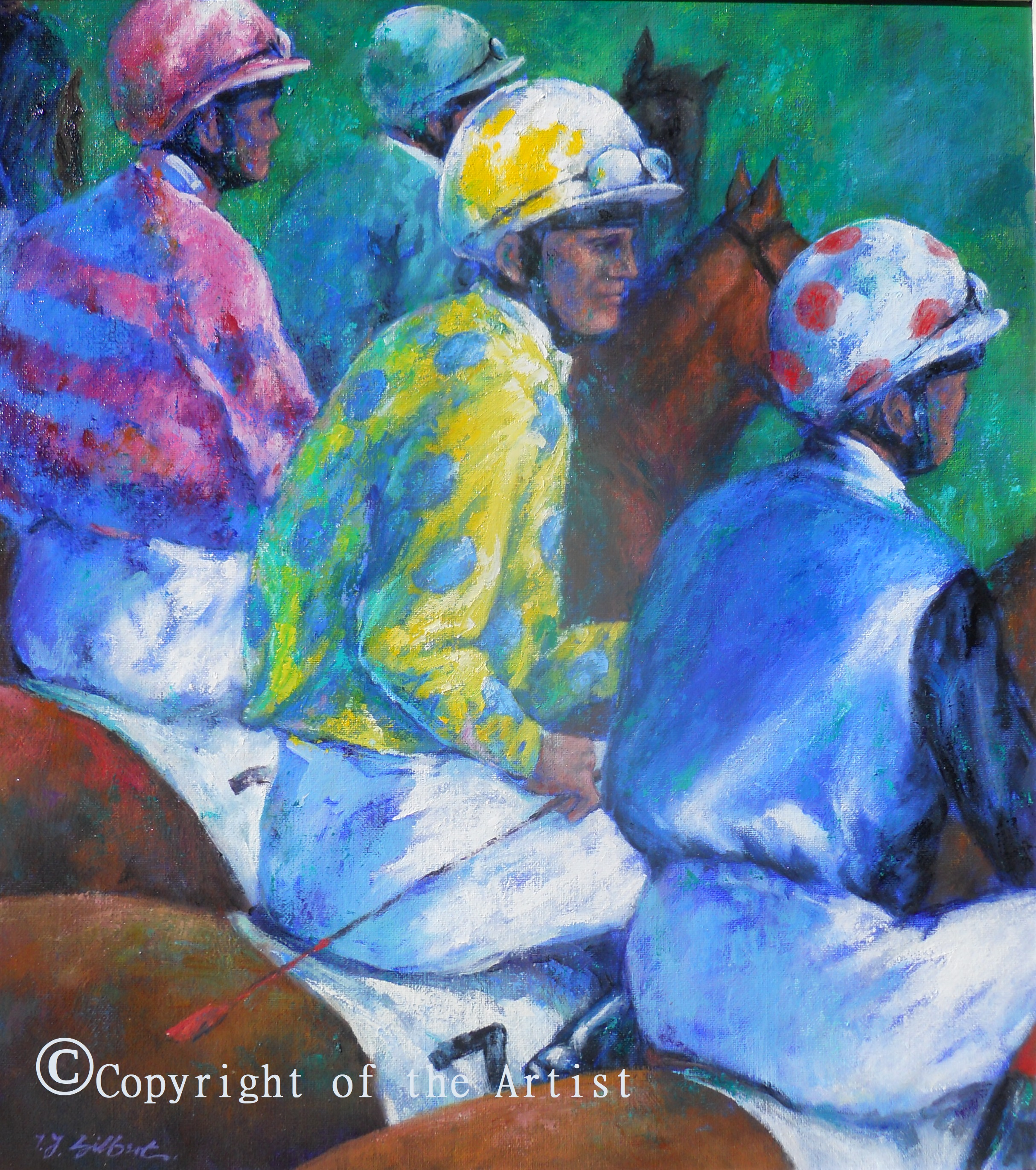 Les Jockeys painting Gilbert
