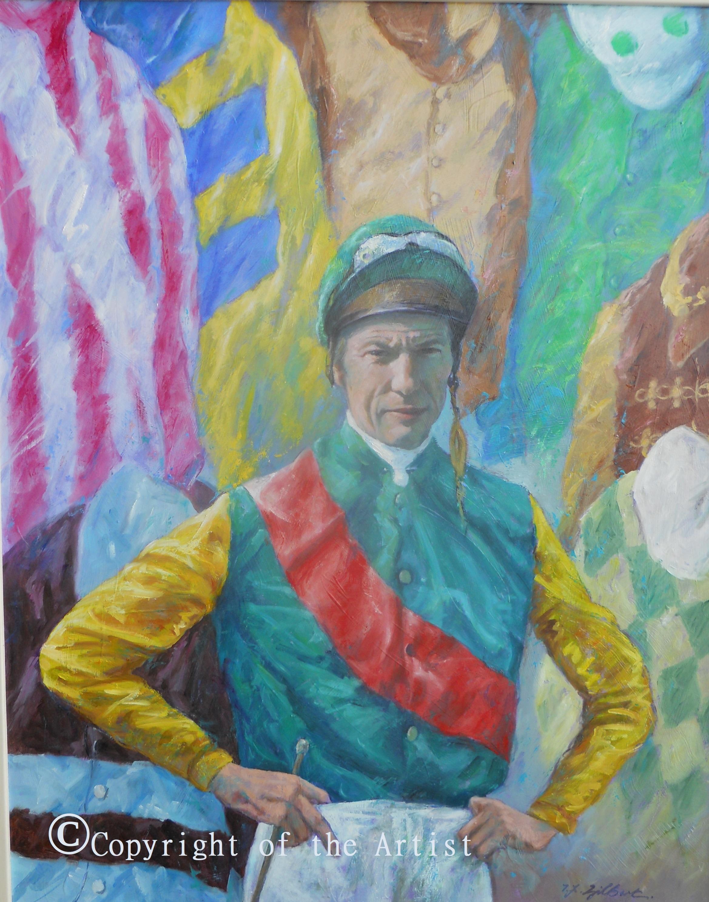 Lester Piggott oil painting T Gilbert