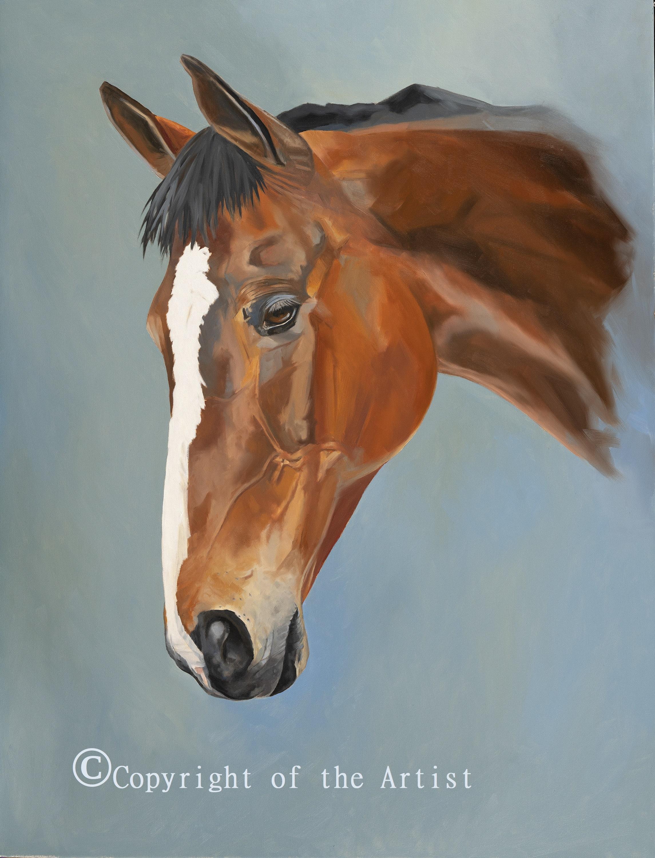 Lisa Miller painting Kauto Star racehorse painting