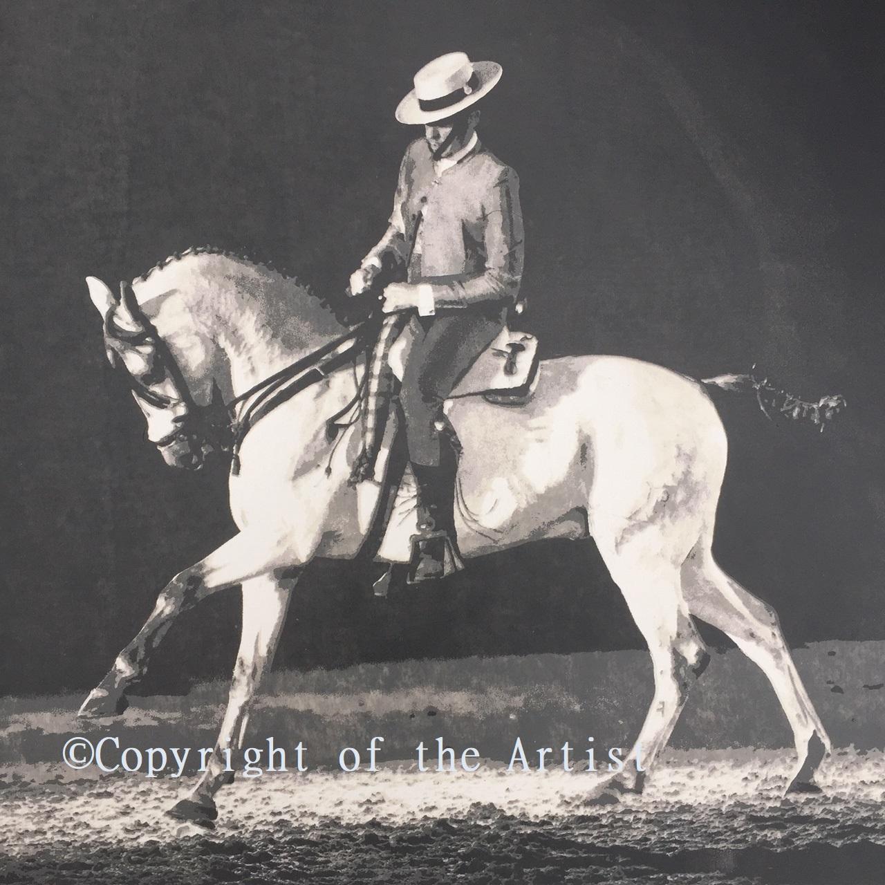 Silkscreen pring G MIlls Hon SEA spanish horse and rider canter