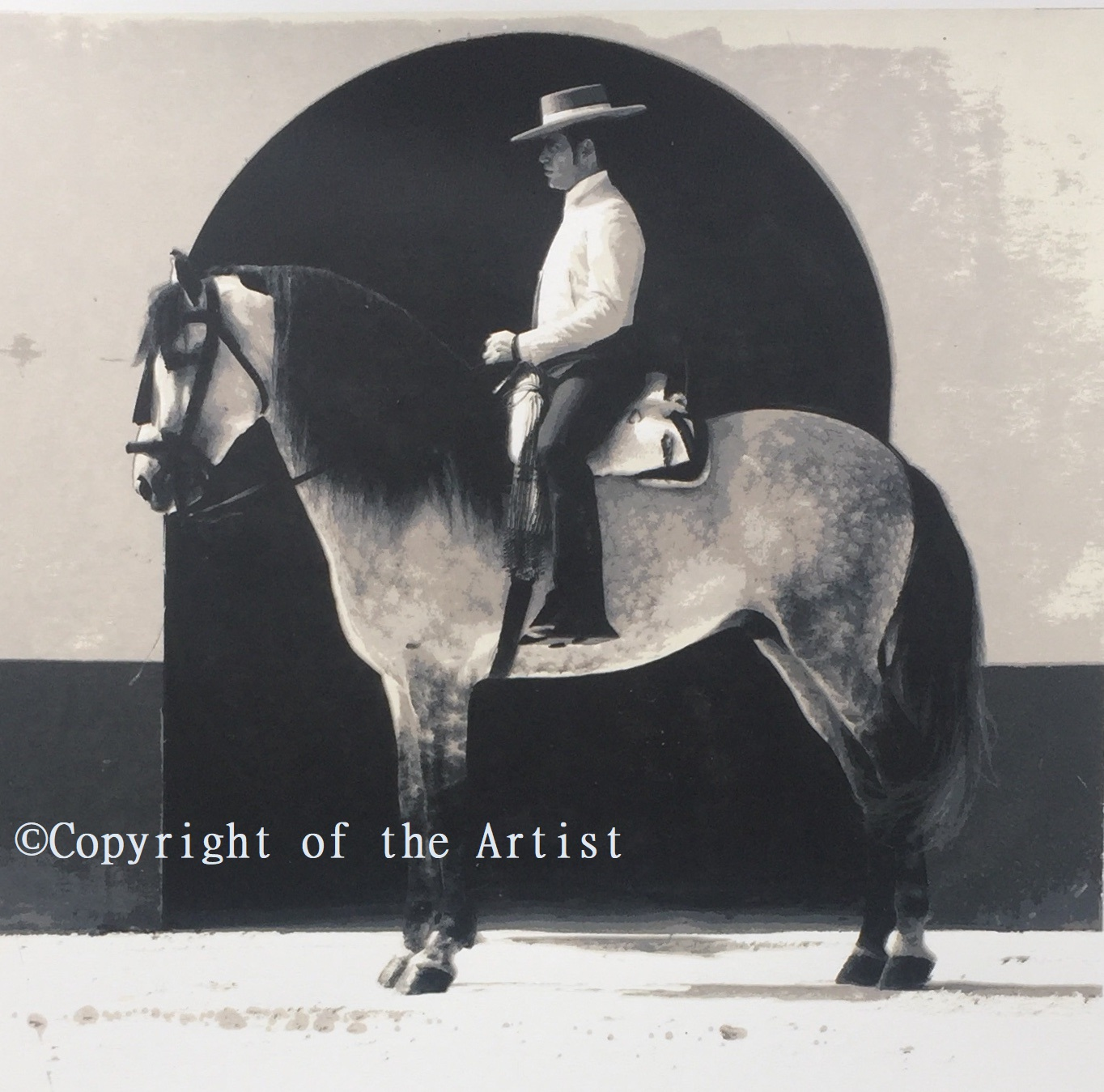 G MIlls silkscreen print spanish horse and rider