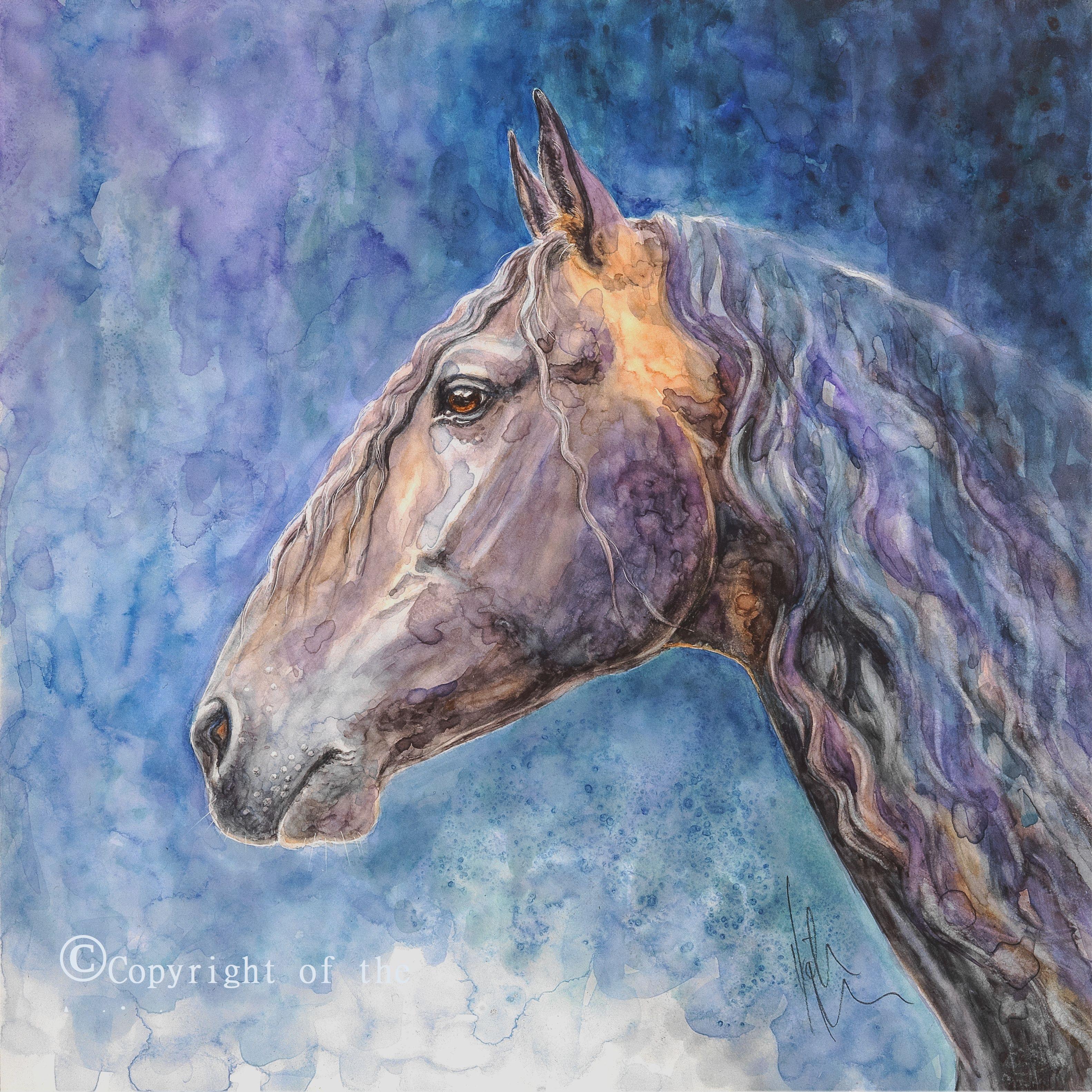 K Nason watercolour horse head
