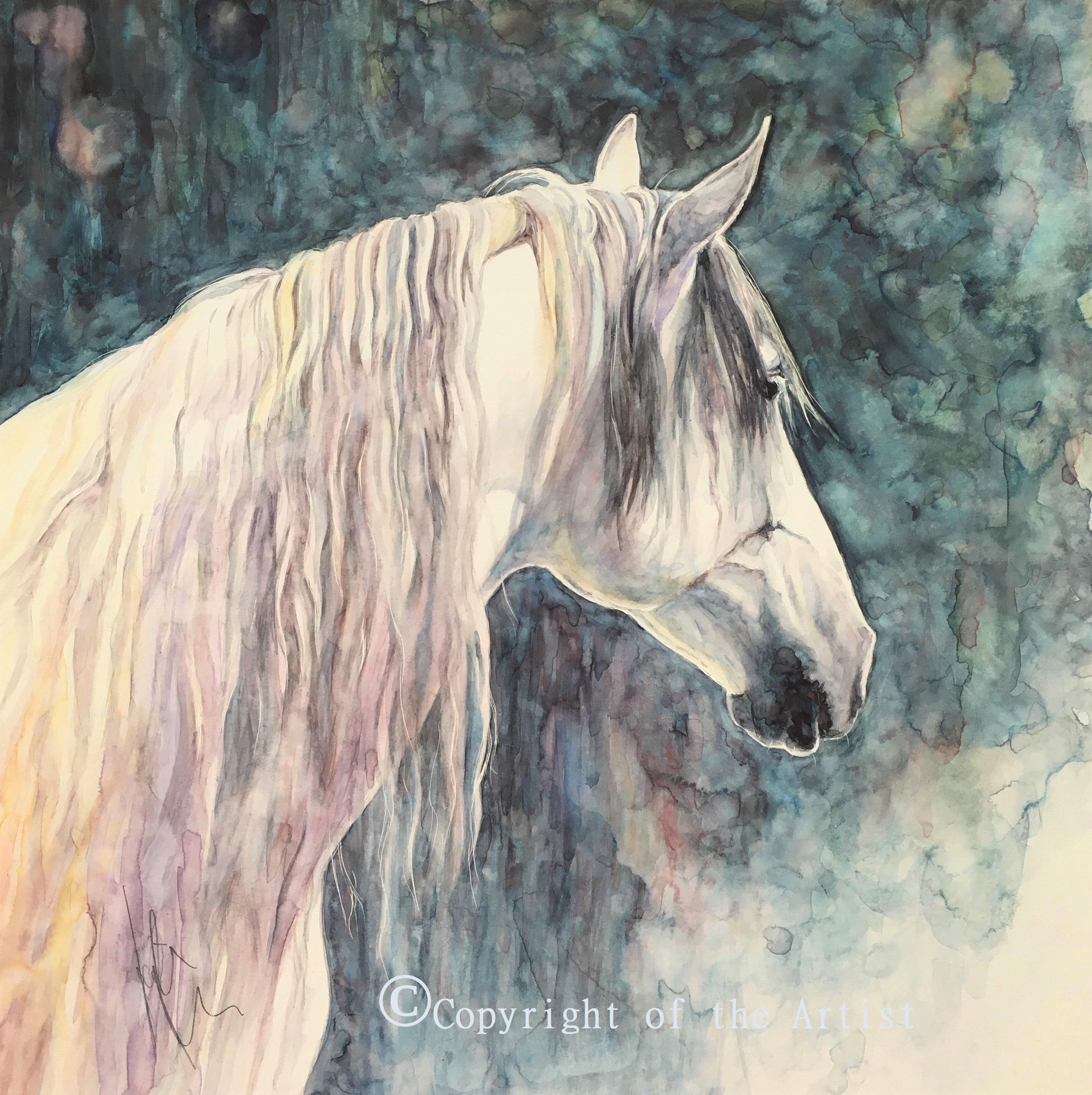 K Nason watercolour spanish horse head