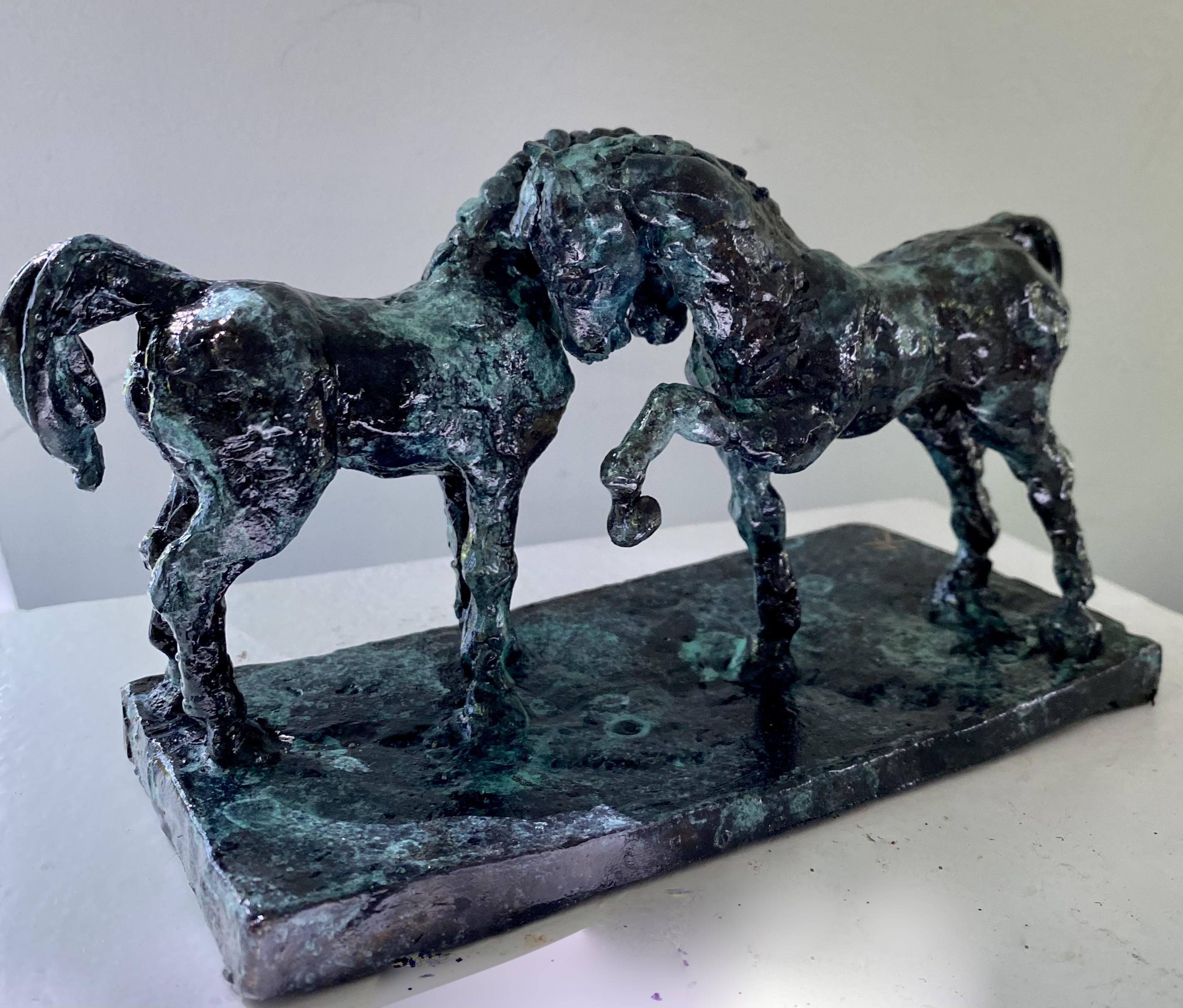 bronze of two horses rask crawford