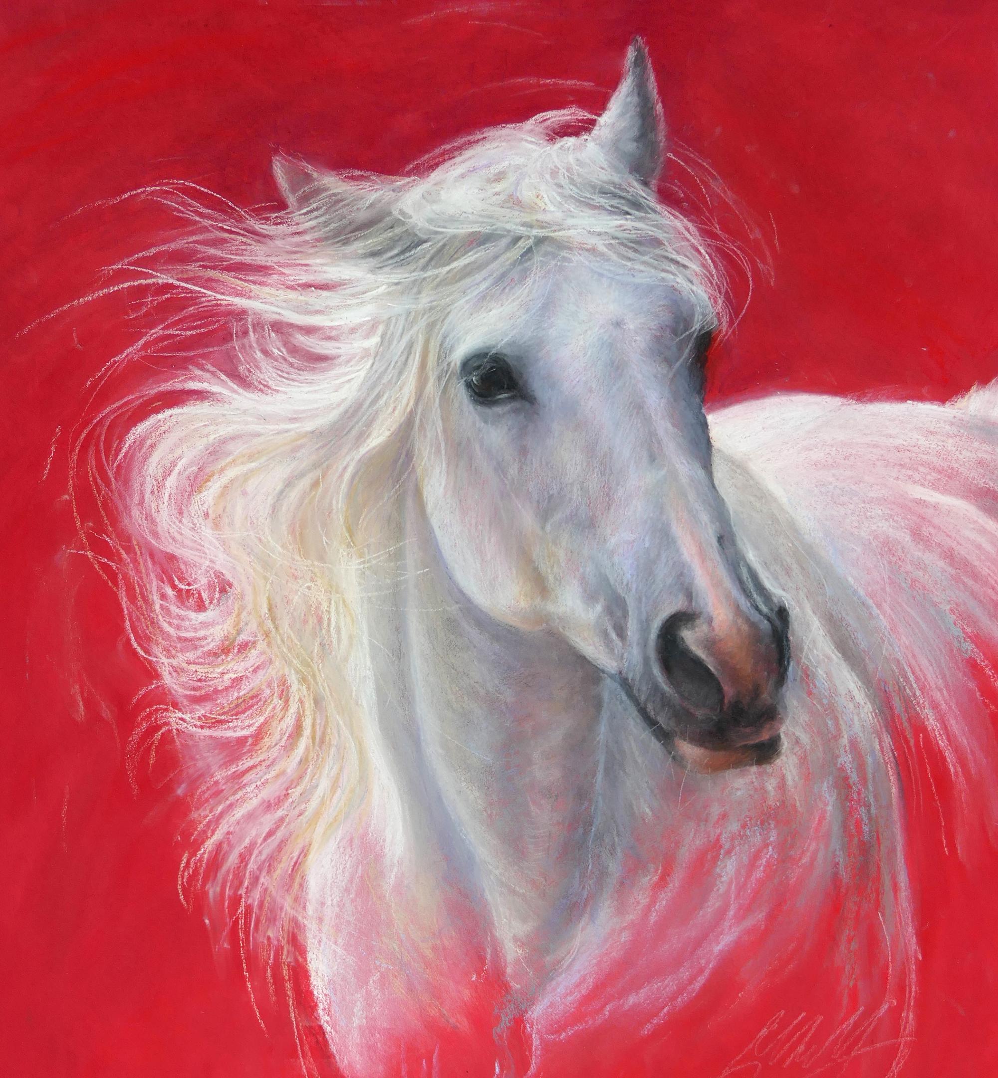 Grey horse pastel painting