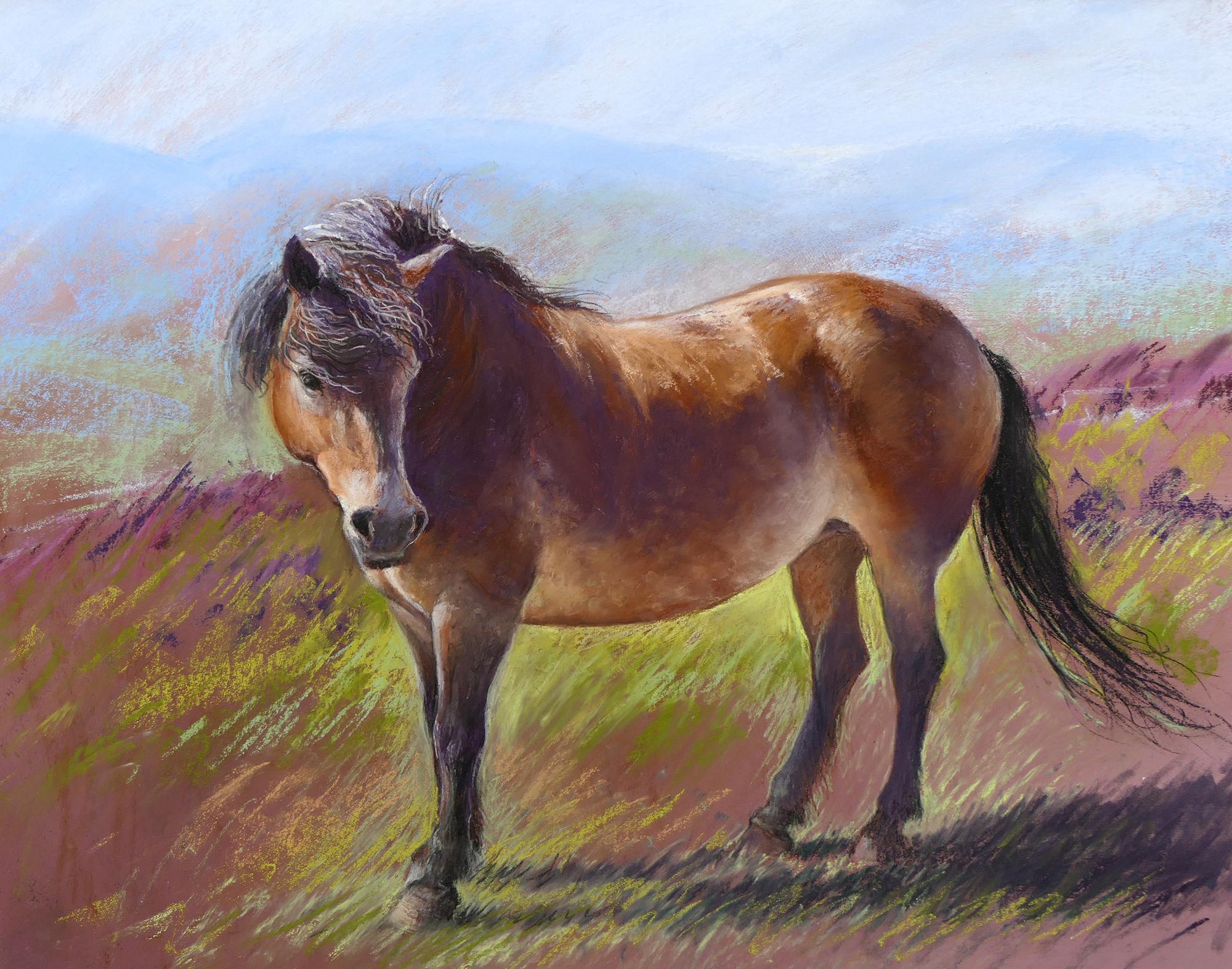 exmoor pony pastel painting